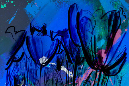 Blauwe Tulp | Giclée Schilderkunst | Atelier Galerie Annemiek Punt