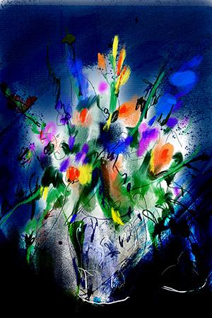 Bloemen in Blauw | Giclée Schilderkunst | Atelier Galerie Annemiek Punt