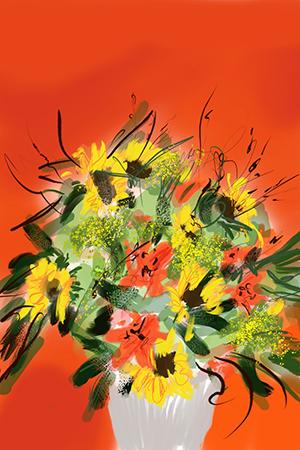Bloemen in Rood | Giclée Schilderkunst | Atelier Galerie Annemiek Punt