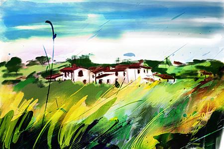 Licht in Toscane | Giclée Schilderkunst | Atelier Galerie Annemiek Punt